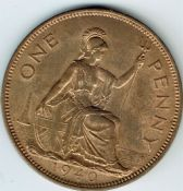 George VI, One Penny 1940 (Scarcer Year), AUNC, M9011